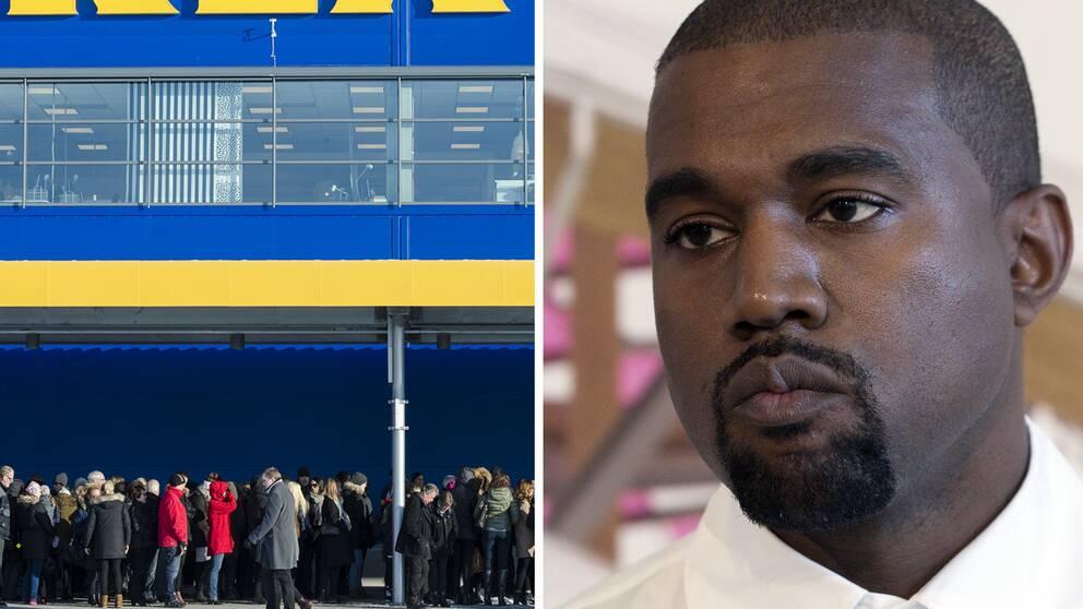 Ett Ikea-varuhus och rapparen Kanye West.