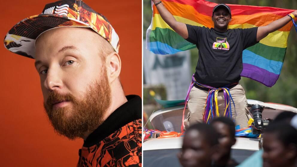Petter Wallenberg och en pridefestival i Uganda 2014.