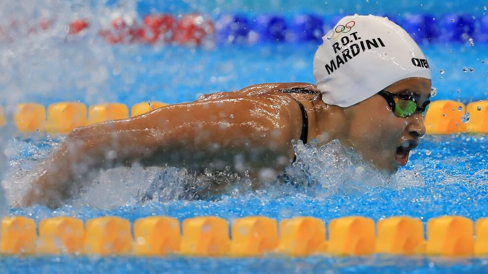 Yusra Mardini under sitt simheat i Rio.