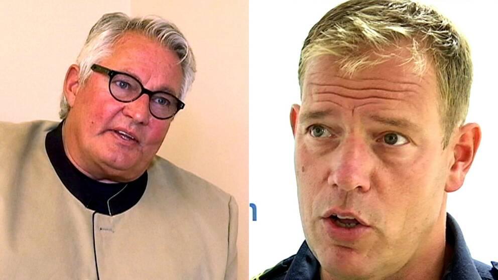 Biträdande polischef i region Nord, Michael Säll Lindahl, till höger, bemöter kritiken från Strömsunds kommunalråd Göran Bergström.