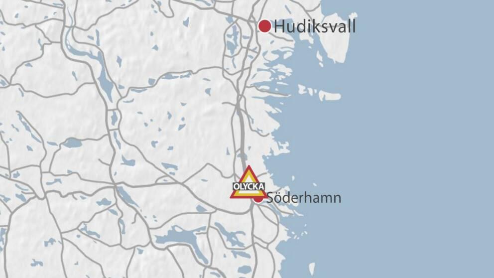 Karta med platsen där en motorcyklist blev svårt skadad i en olycka utanför Söderhamn.