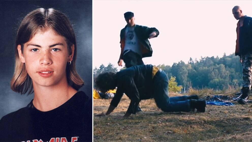 John Hron. Scen ur filmen där skådespelaren som spelar Johan blir sparkad.