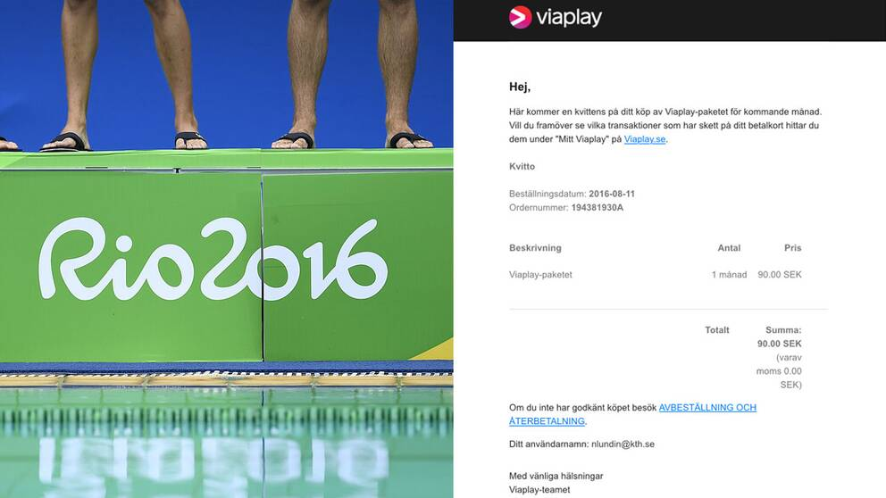 En OS-logga och en skärmdump av bluffmailet.