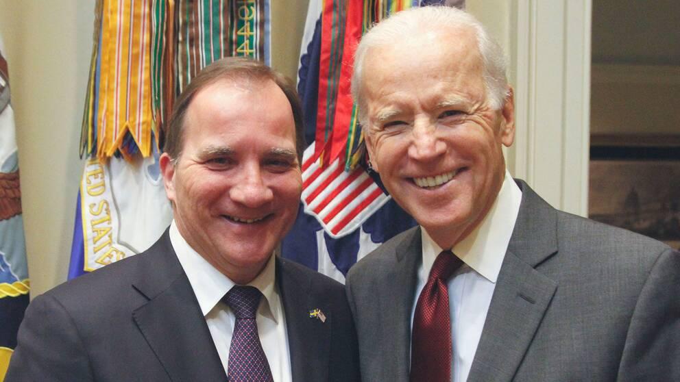 Statsminister Stefan Löfven och USA:s vicepresident Joe Biden i samband med Löfvens besök i Vita huset förra året.