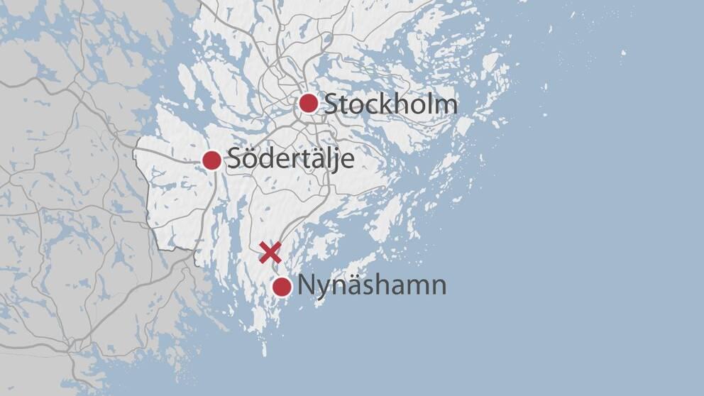 Karta över Stockholms län där Ösmo är markerat med ett kryss.