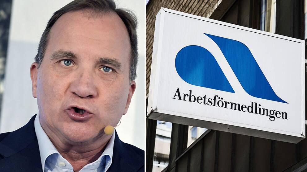 Stefan Löfven och en arbetsförmedlingen-skylt.