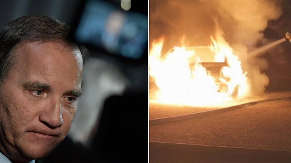 Statsministern Stefan Löfven (S) lovar insatser mot bilbränder. Under sommaren har Uppsala drammats av flertalet bränder, där också polis och räddningstjänst har utsatts för stenkastning.