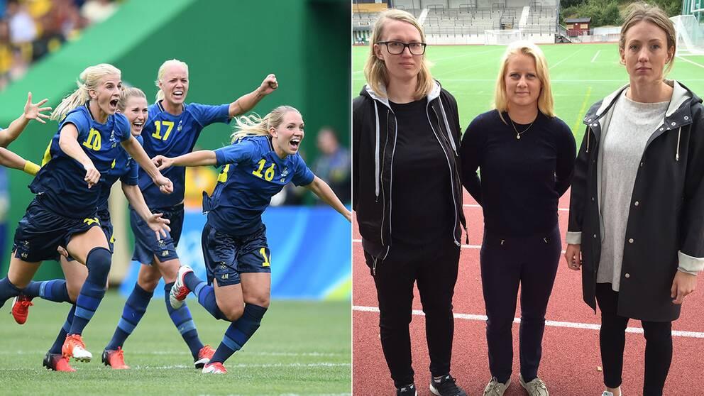 Damlandslagets tog seger mot Brasilien men fortfarande finns stora ojämlikheter i fotbollen, menar Ida Ahlberg, lagledare Hammarby fotboll, Siri Frimodig, innermittfältare Hammarby och Olga Ekblom, forward och lagkapten Hammarby fotboll.