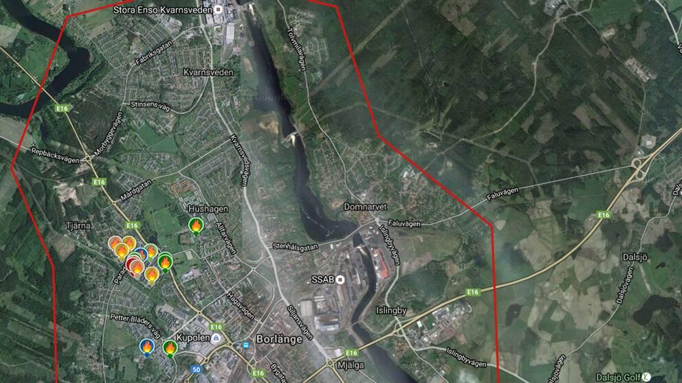 Karta över bilbränder i Borlänge.