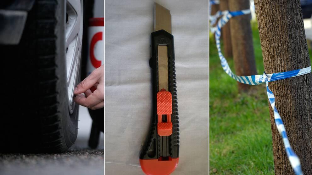 Bildäck, mattkniv och polisavspärrning.