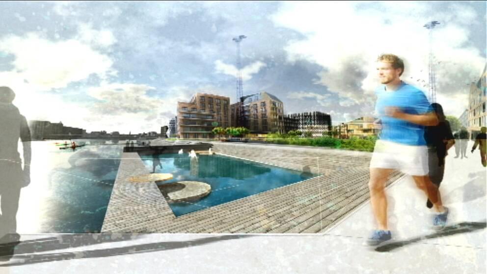 arkitektskiss del av Norrköpings hamn