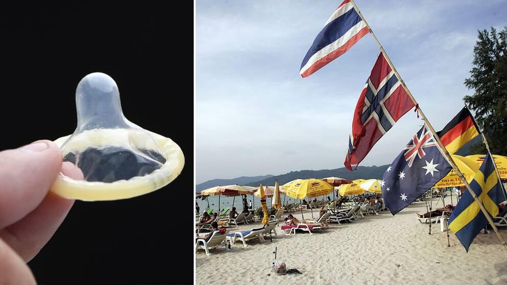 Kondom och flaggor på en strand i Thailand.
