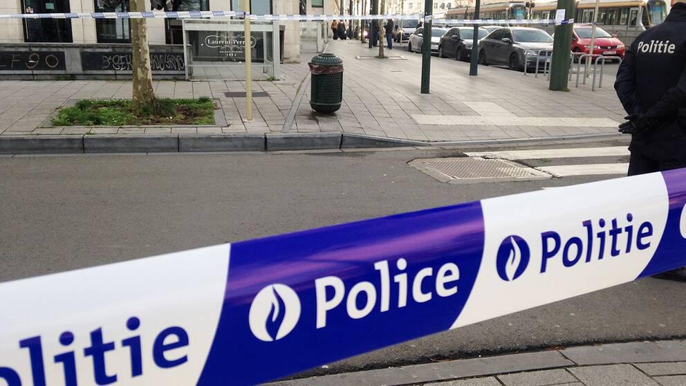 Polisavspärrning i Bryssel. Bilden är från ett annat tillfälle.